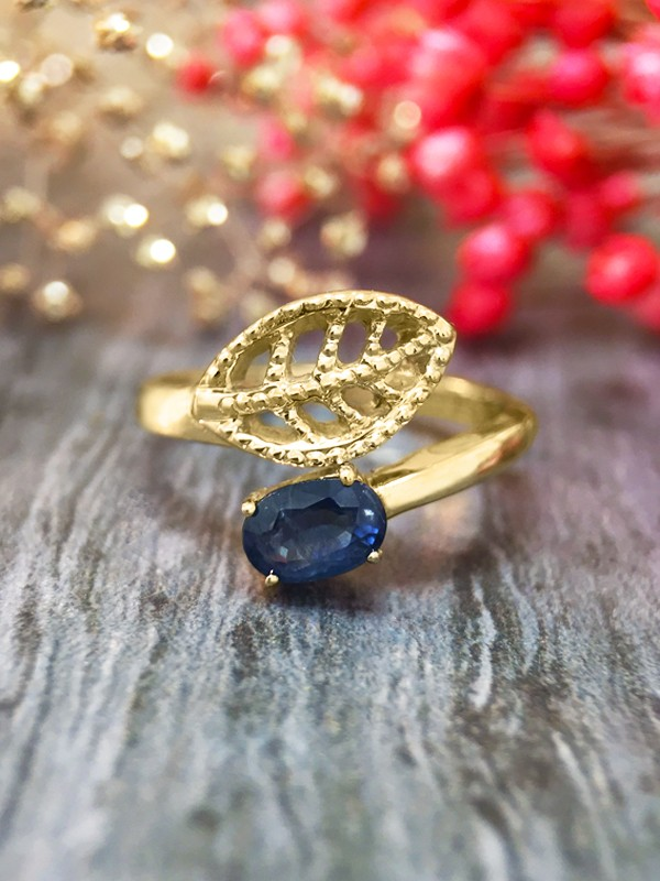 6x4MM Blue Sapphire Filigree Leaf <Prong> Solid 14K Yellow Gold (14KY) Colored Stone Wrap Ring