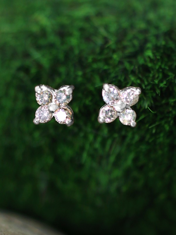 7.5x7.5MM Champagne Diamond Cluster Stud <Prong> Solid 14K White Gold (14KW) Floral Earrings