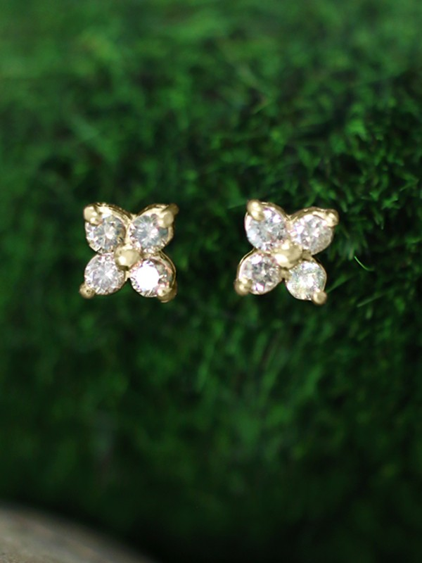 7.5x7.5MM Champagne Diamond Cluster Stud <Prong> Solid 14K Yellow Gold (14KY) Floral Earrings