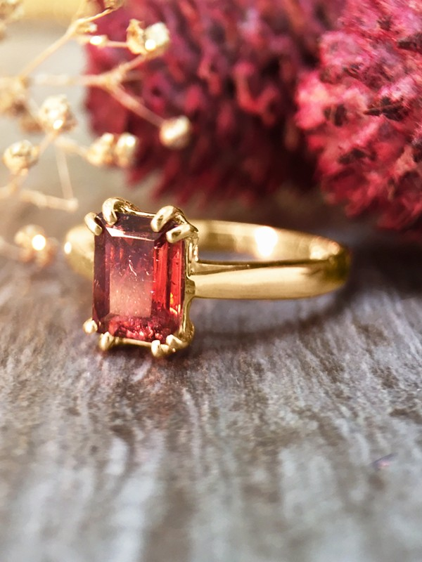 5x7MM Pink Tourmaline Solitaire Engagement <Prong> Solid 14K Yellow Gold (14KY) Colored Stone Wedding Ring