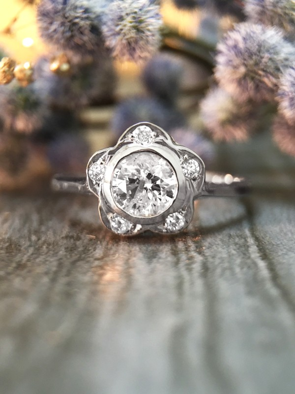 Diamond Floral Halo Engagement <Bezel/Pave> Solid 14K White Gold (14KW) Affordable Wedding Ring