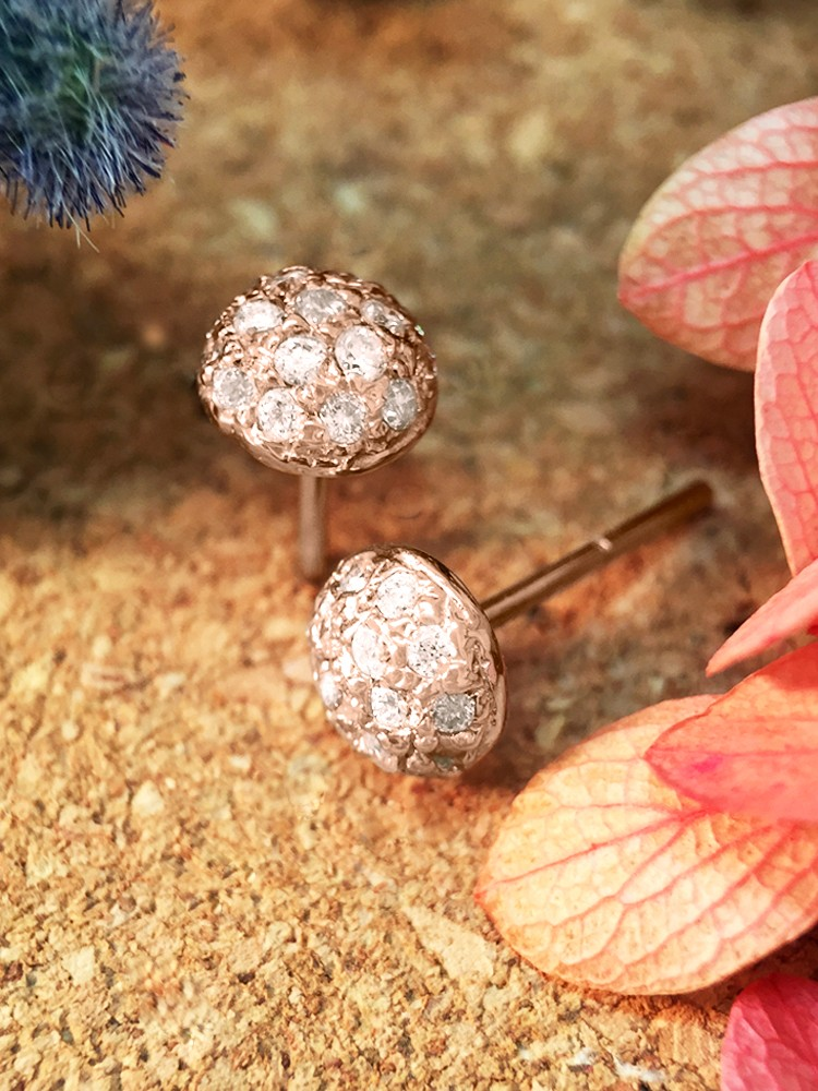 6.5x6.5MM Diamond Cluster Dome Stud <Pave> Solid 14K Rose Gold (14KR) Earrings
