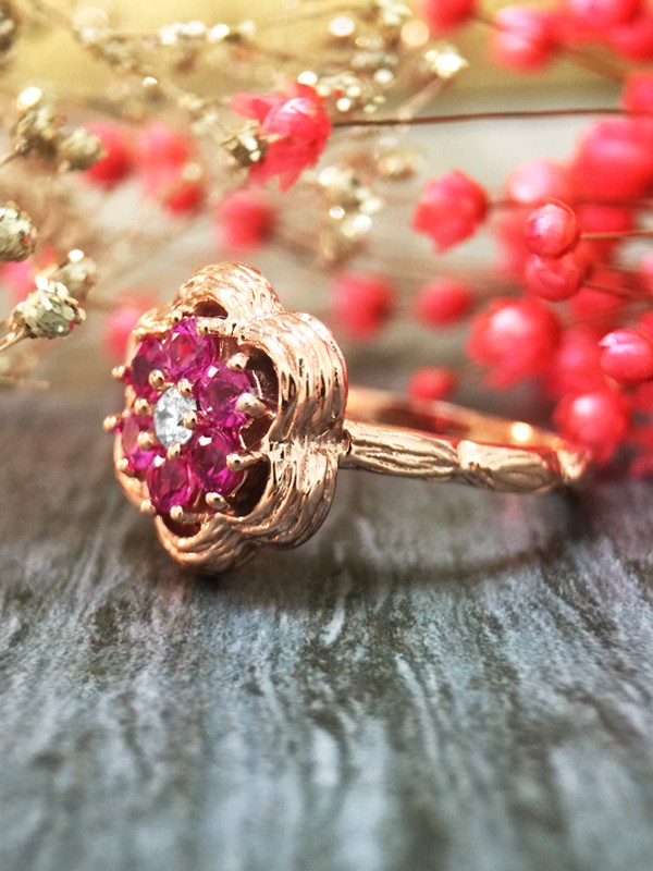 Pink Sapphire and Diamond Cluster Engagement <Prong> Solid 14K Rose Gold (14KR) Colored Stone Wedding Ring
