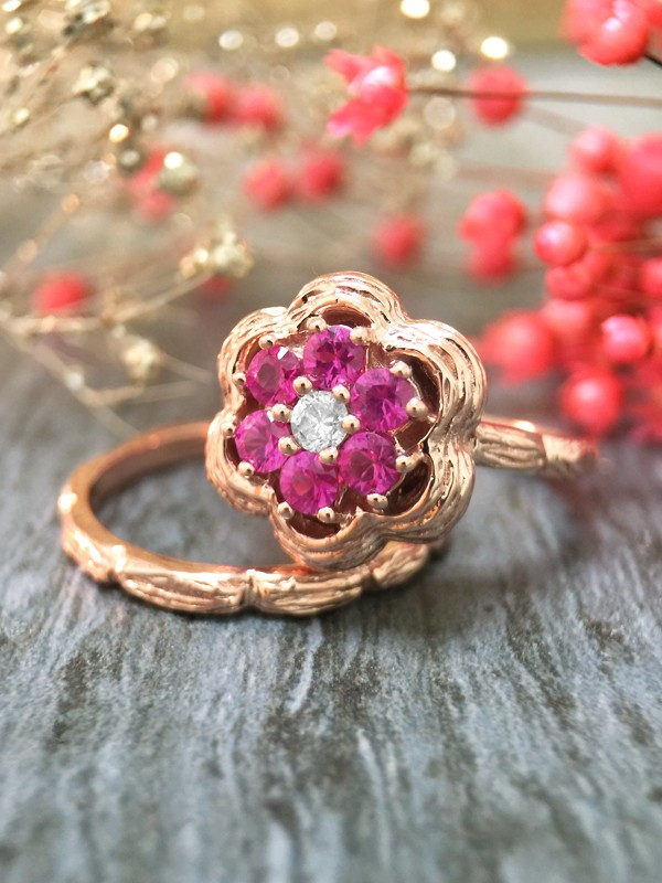 *Engagement Set* Pink Sapphire and Diamond Solid 14K Rose Gold Engagement Ring Set