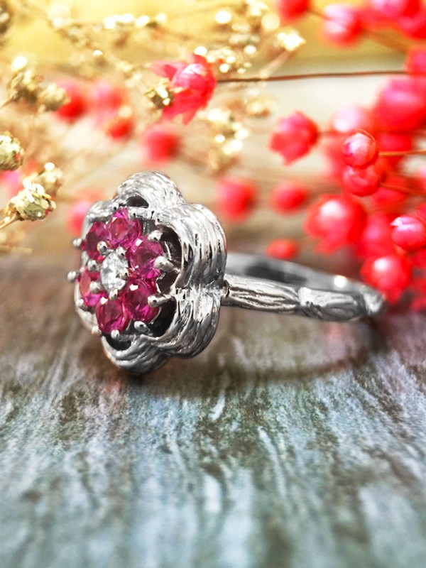 Pink Sapphire and Diamond Cluster Engagement <Prong> Solid 14K White Gold (14KW) Colored Stone Wedding Ring