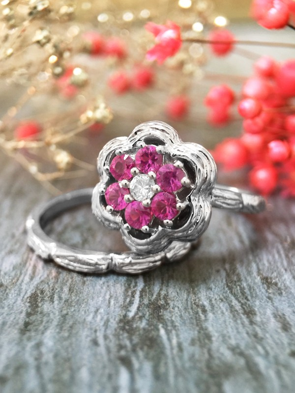 *Engagement Set* Pink Sapphire and Diamond Solid 14K White Gold Engagement Ring Set