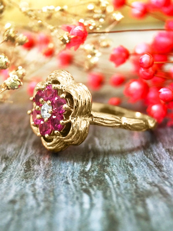 Pink Sapphire and Diamond Cluster Engagement <Prong> Solid 14K Yellow Gold (14KY) Colored Stone Wedding Ring