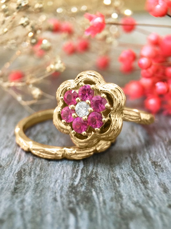 *Engagement Set* Pink Sapphire and Diamond Solid 14K Yellow Gold Engagement Ring Set