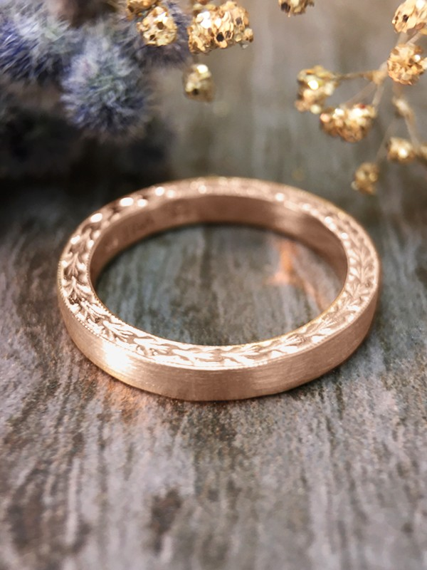 2.5MM Satin Finish with Filigree Sides Wedding Band Solid 14K Rose Gold (14KR) Women's Engagement Ring