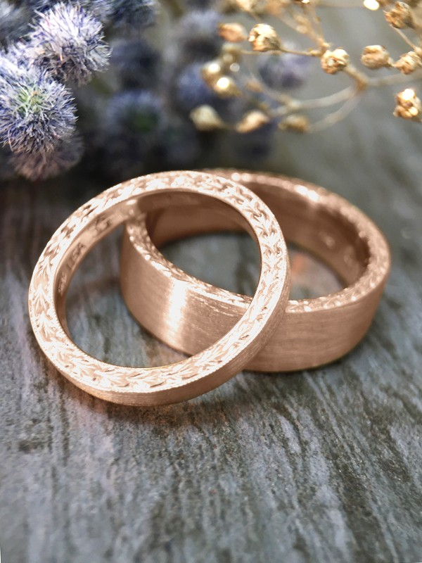 SET: 2.5MM and 6MM Satin Finish with Filigree Sides Matching Wedding Bands Solid 14K Rose Gold (14KR) Rings