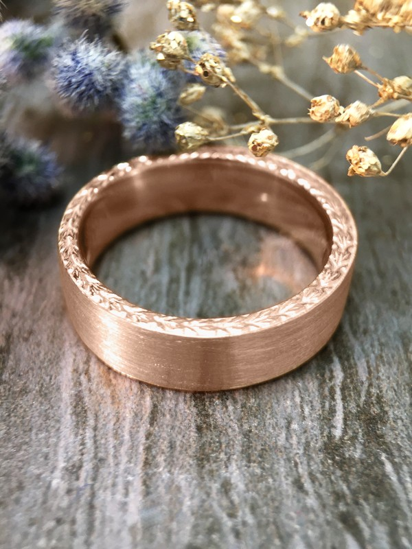 6MM Satin Finish with Filigree Sides Wedding Band Solid 14K Rose Gold (14KR) Men's Engagement Ring