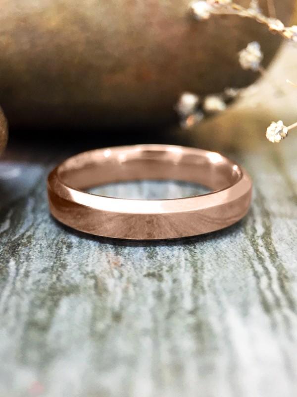 3MM Bevelled Polished Wedding Band Solid 14K Rose Gold (14KR) Modern Women's Engagement Ring