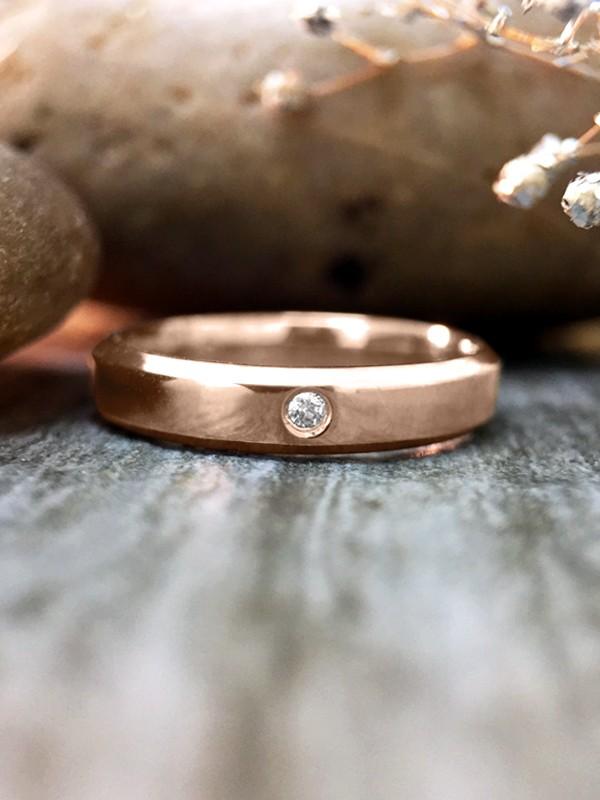3MM Diamond Bevelled Polished Wedding Band <Pave> Solid 14K Rose Gold (14KR) Modern Women's Engagement Rin