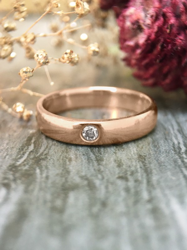 3.8MM Polished Diamond Solitaire Wedding Band <Pave> Solid 14K Rose Gold (14KR) Unisex Engagement Ring