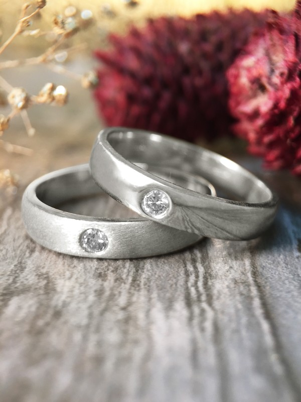 SET: Diamond Satin Finish and Polished Wedding Bands <Pave> Solid 14K White Gold (14KW) Stackable Rings