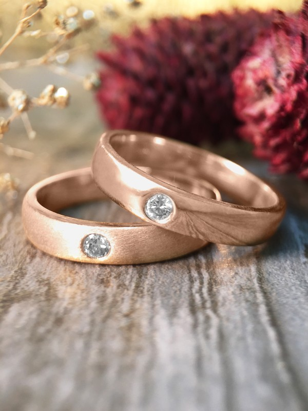 SET: Diamond Satin Finish and Polished Wedding Bands <Pave> Solid 14K Rose Gold (14KR) Stackable Rings