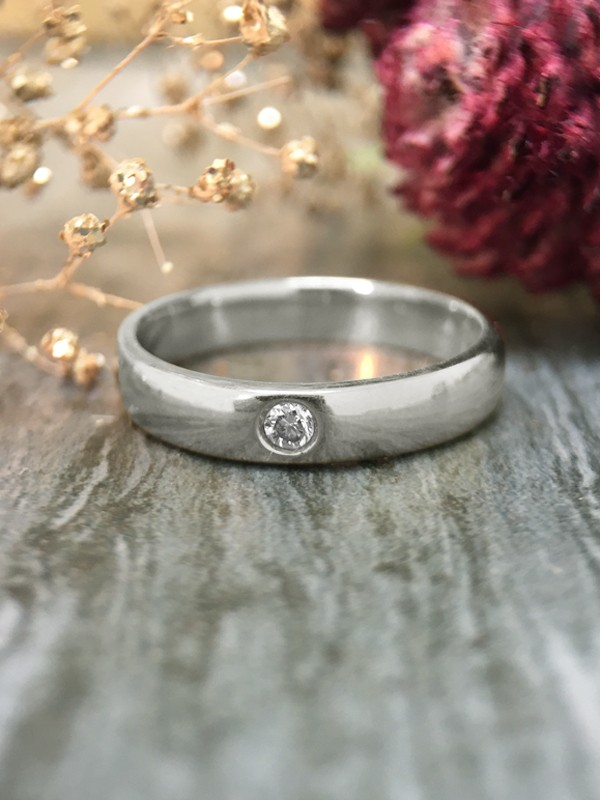 3.8MM Polished Diamond Solitaire Wedding Band <Pave> Solid 14K White Gold (14KW) Unisex Engagement Ring