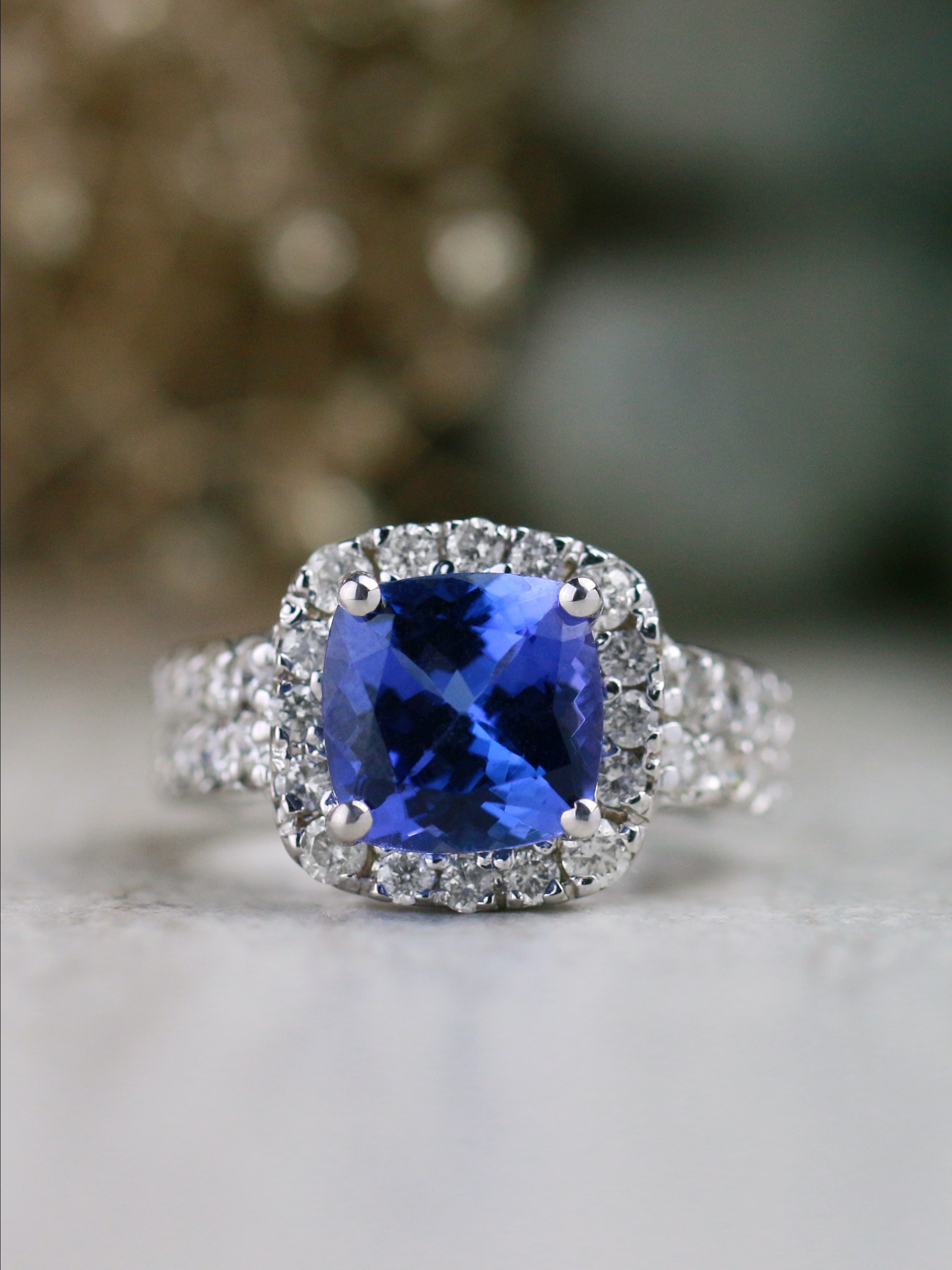 Tanzanite and Diamond Halo Cocktail <Prong> Solid 14K Rose Gold (14KR) Colored Stone Engagement Wedding Ring