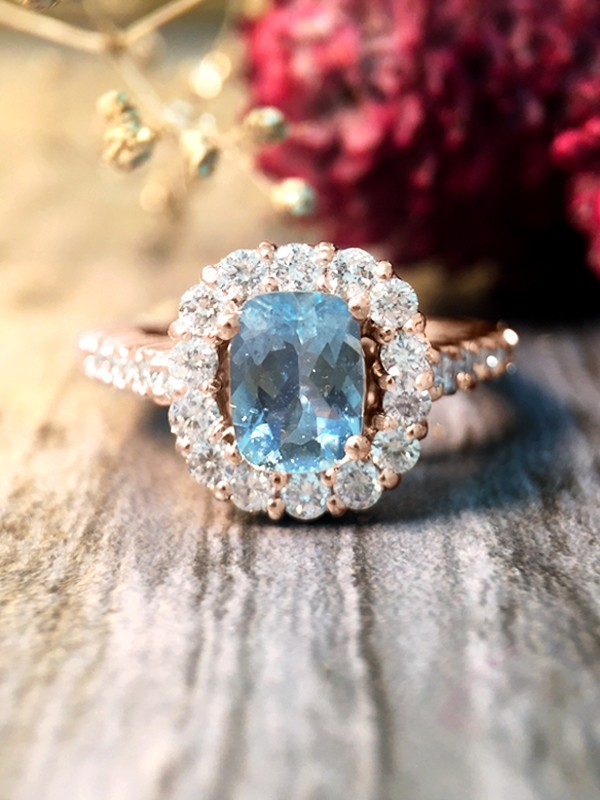 Aquamarine and Diamond Halo Engagement <Prong> Solid 14K Rose Gold (14KR) Colored Stone Wedding Ring