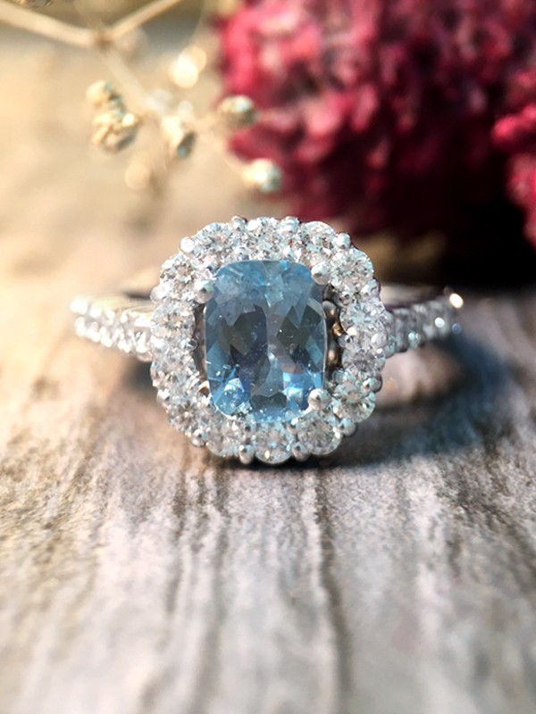 Aquamarine and Diamond Halo Engagement <Prong> Solid 14K White Gold (14KW) Colored Stone Wedding Ring