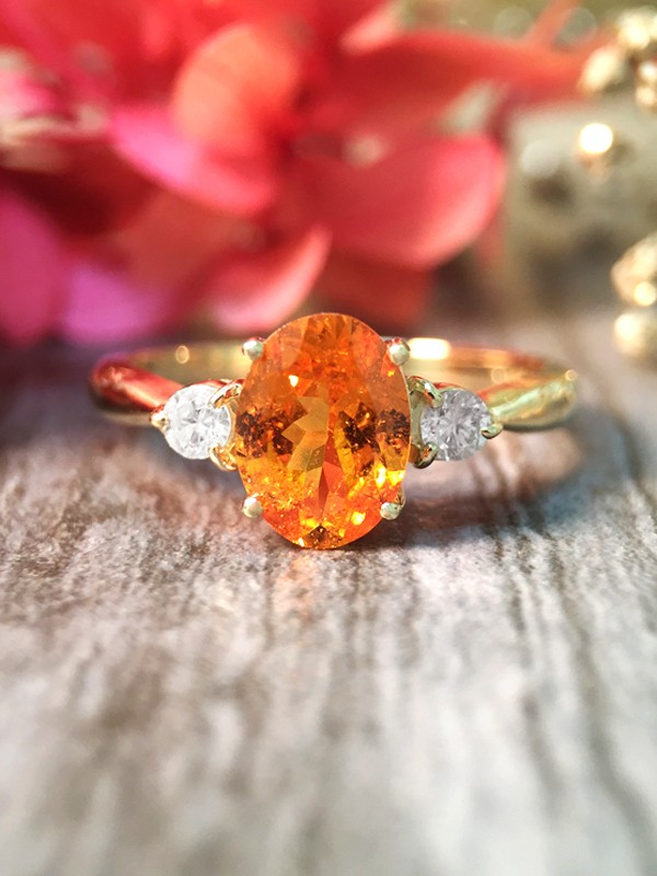 Mandarin Garnet and Diamond 14 Karat White Gold Ring-3-14K YELLOW