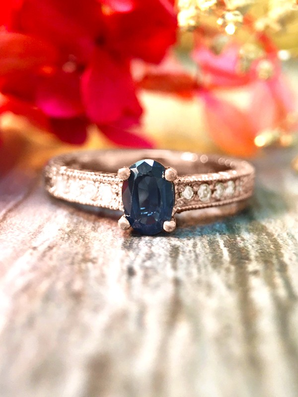 6x4MM Blue Sapphire and Diamond Engagement <Prong> Solid 14K Rose Gold (14KR) Colored Stone Wedding Ring
