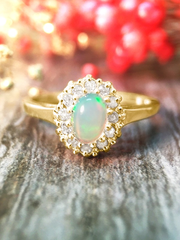 Opal and Diamond Halo Engagement <Prong> Solid 14K Yellow Gold (14KY) Affordable Colored Stone Wedding Ring
