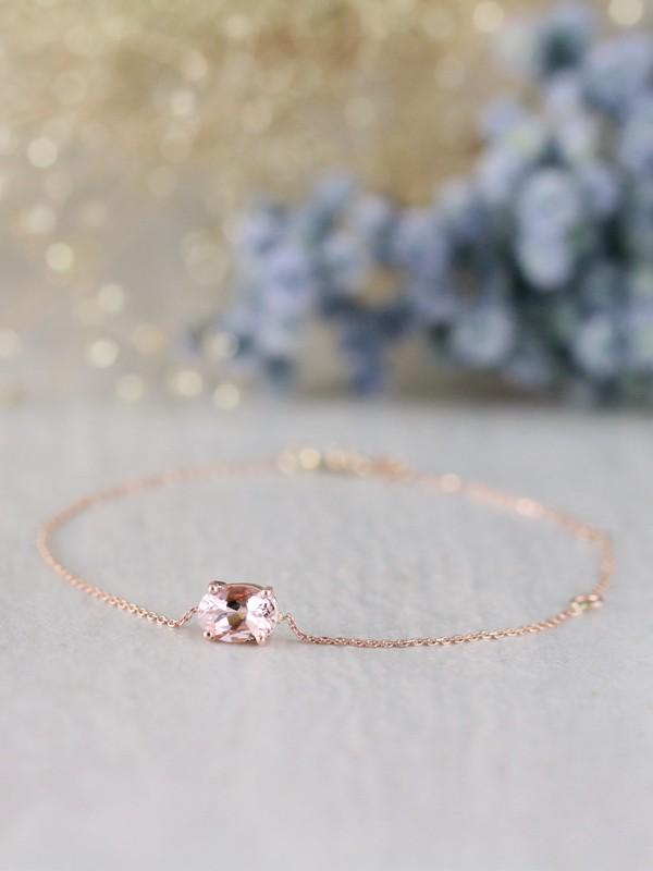 Dainty Natural Morganite 14 Karat Gold  Chain Bracelet