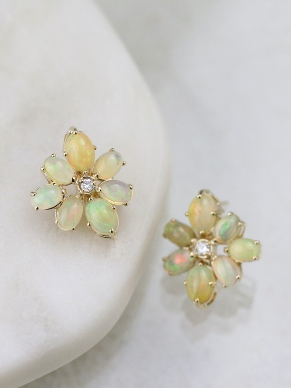 18x22MM Opal and Diamond Cluster Stud <Prong> Solid 14K Gold Colored Stone Earrings