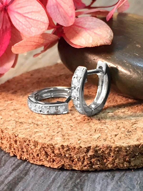 9.5MM Diamond Hoop <Pave> Solid 14K White Gold (14KW) Minimalist Petite Piercing Earrings