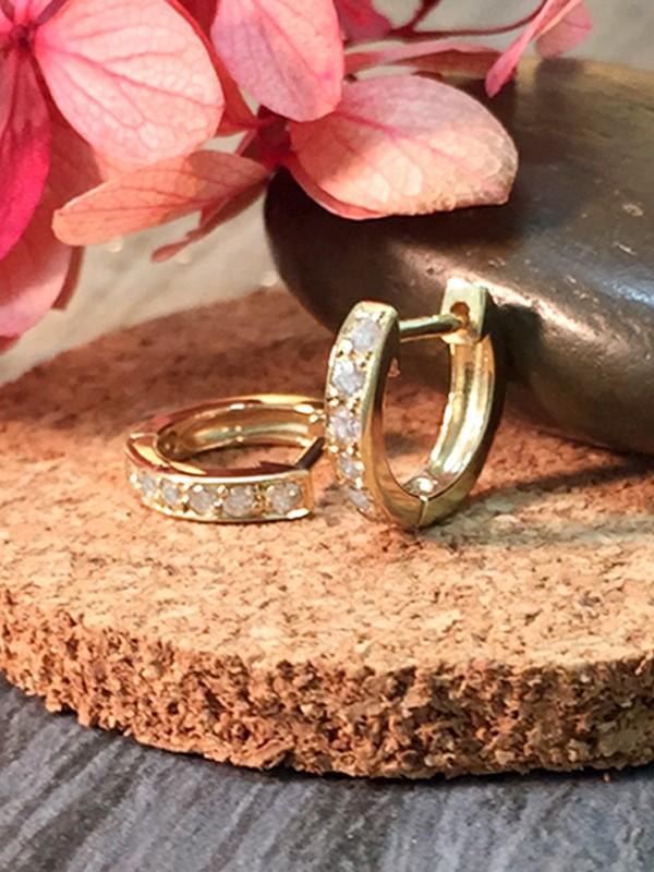 9.5MM Diamond Hoop <Pave> Solid 14K Yellow Gold (14KY) Minimalist Petite Piercing Earrings