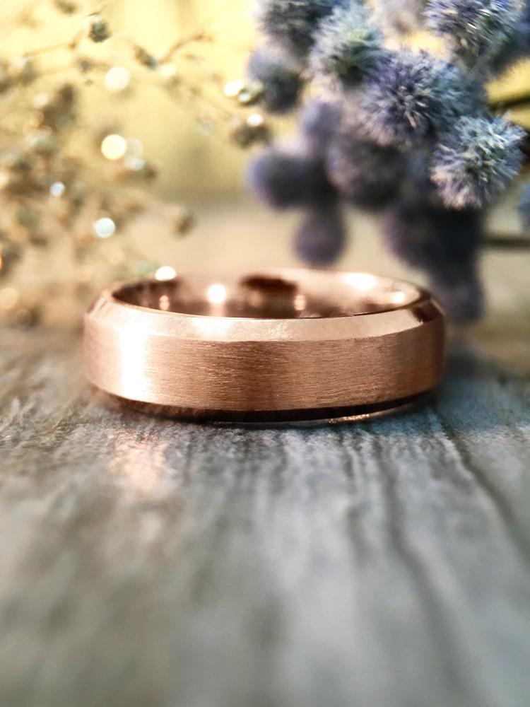 5.5MM Bevelled Satin Finish Wedding Band Solid 14K Rose Gold (14KR) Modern Men's Engagement Ring
