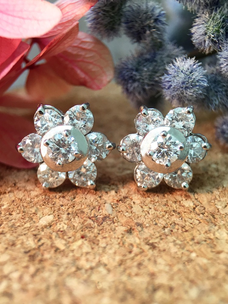 9.5x9.5MM Diamond Cluster Halo Stud <Prong> Solid 14K White Gold (14KW) Floral Earrings