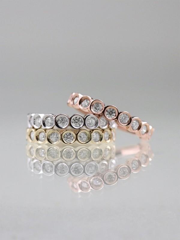 Bezel Set Diamond Solid 14K Tri-Color Gold Band (Set of 3 Rings)