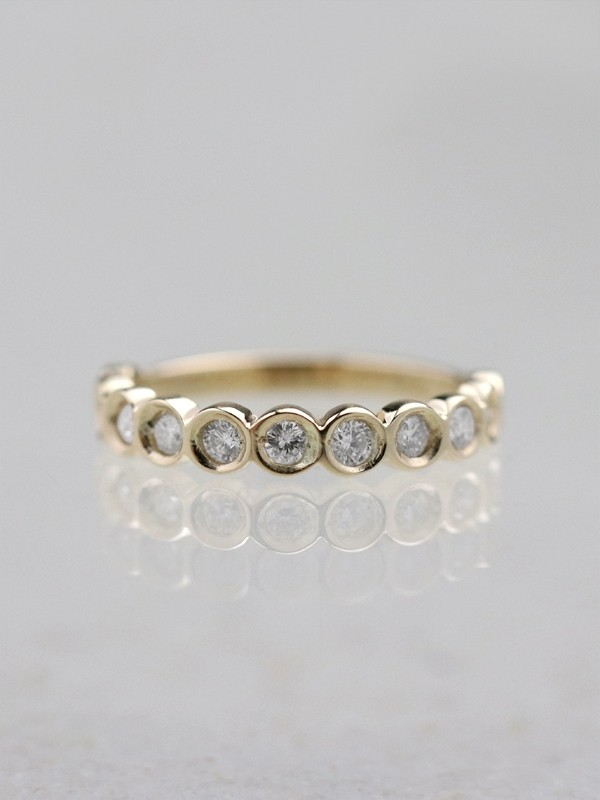 Diamond Wedding Band <Bezel> Solid 14K Yellow Gold (14KY) Stackable Engagement Ring *
