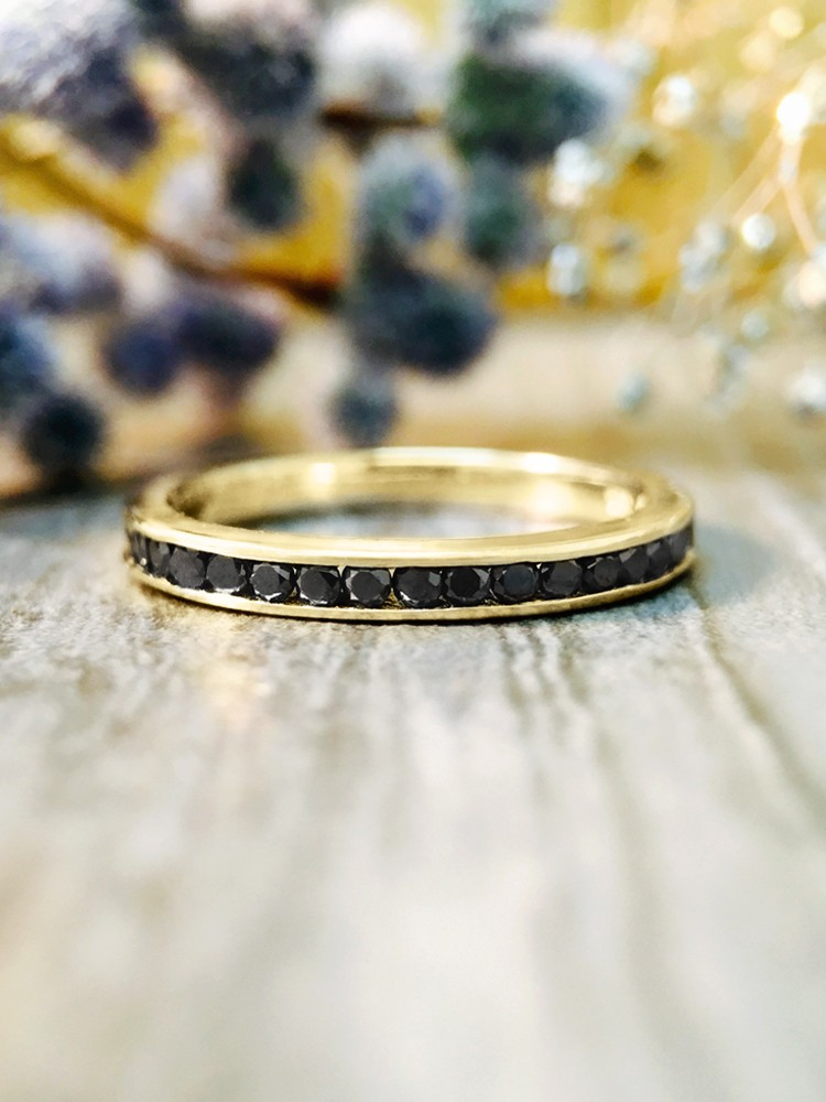 2.3MM Black Diamond Wedding Band <Channel> Solid 14K Yellow Gold (14KY) Stackable Women's Engagement Ring
