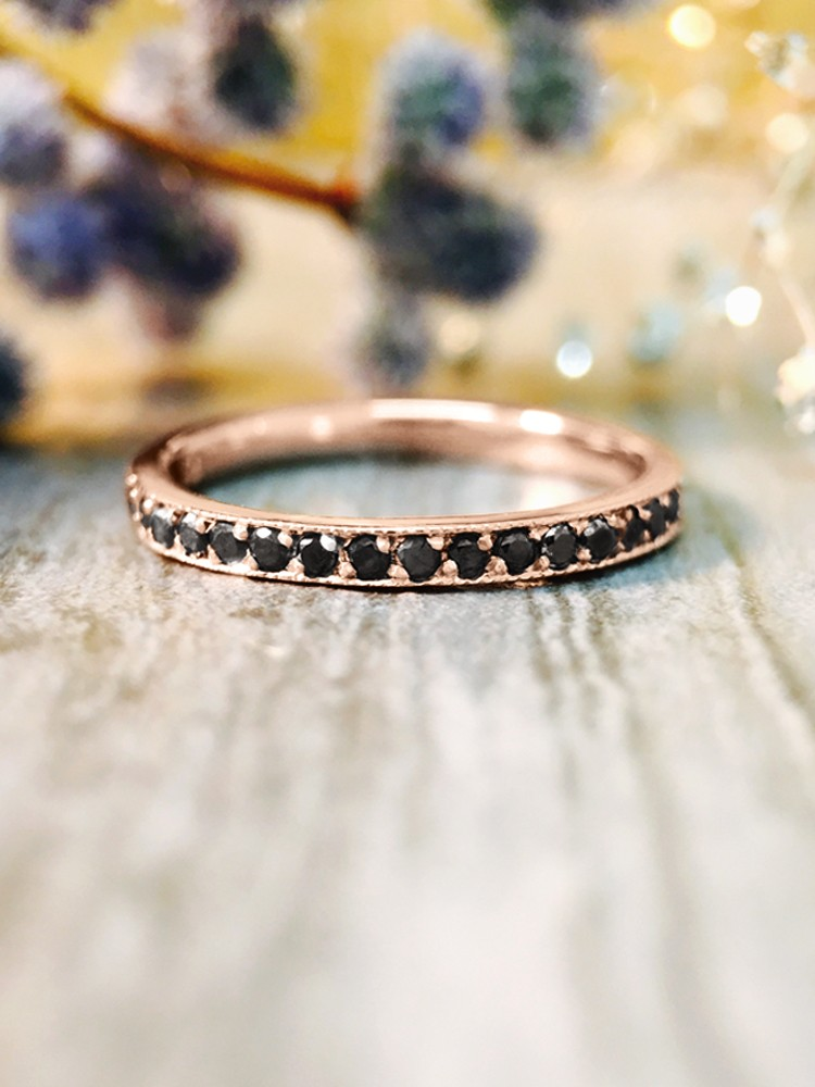 2MM Black Diamond Eternity Wedding Band <Prong> Solid 14K Rose Gold (14KR) Edgy Stackable Engagement Ring
