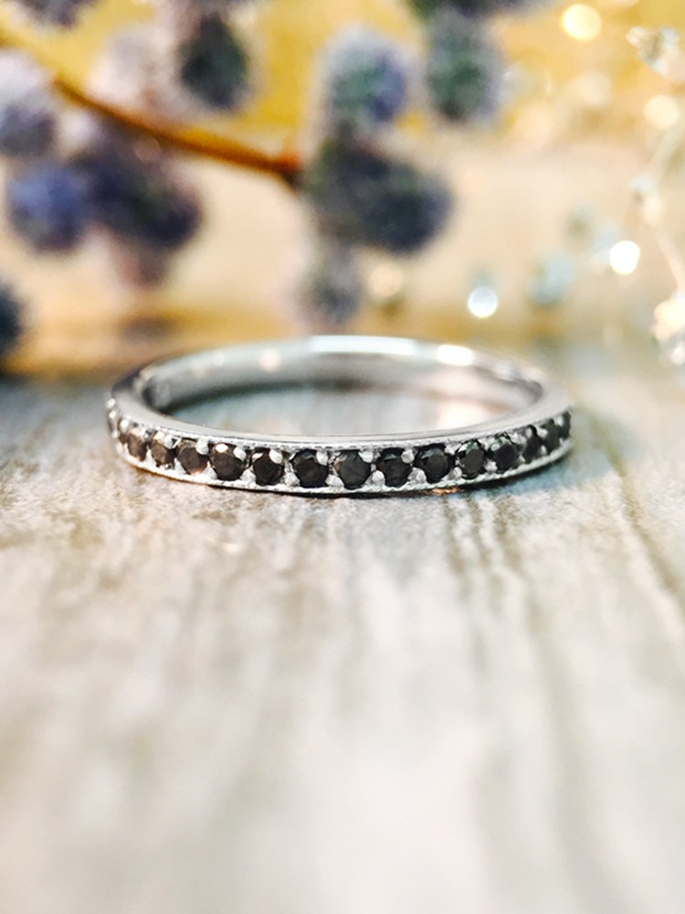 2MM Black Diamond Eternity Wedding Band <Prong> Solid 14K White Gold (14KW) Edgy Stackable Engagement Ring