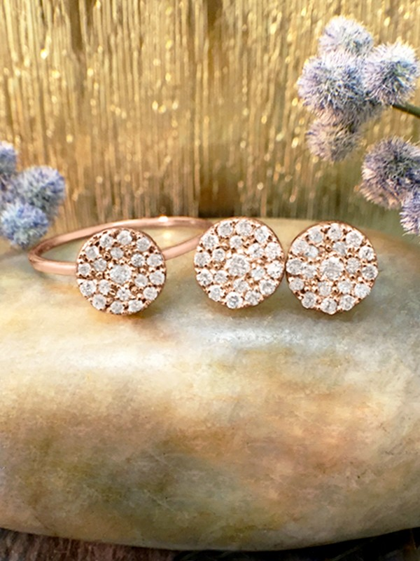 SET: 7x7MM Diamond Cluster Disk <Pave> Solid 14K Rose Gold (14KR) Ring and Earring Set