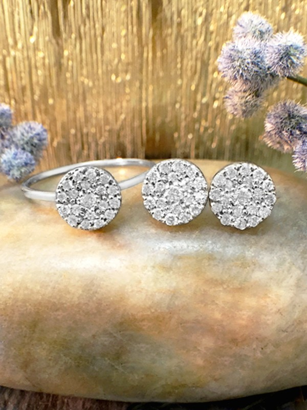 SET: 7x7MM Diamond Cluster Disk <Pave> Solid 14K White Gold (14KW) Ring and Earring Set