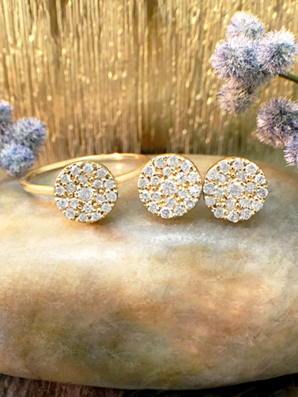 SET: 7x7MM Diamond Cluster Disk <Pave> Solid 14K Yellow Gold (14KY) Ring and Earring Set