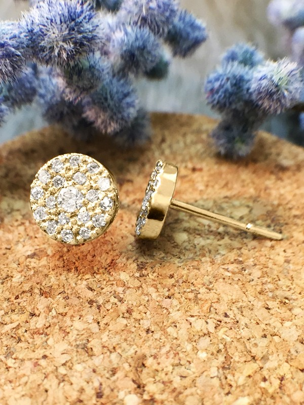 7.5x7.5MM Diamond Cluster Disk Stud <Pave> Solid 14K Yellow Gold (14KY) Earrings