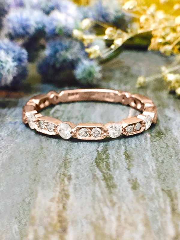 1.9MM Diamond Wedding Band <Prong> Solid 14K Rose Gold (14KR) Stackable Women's Engagement Ring