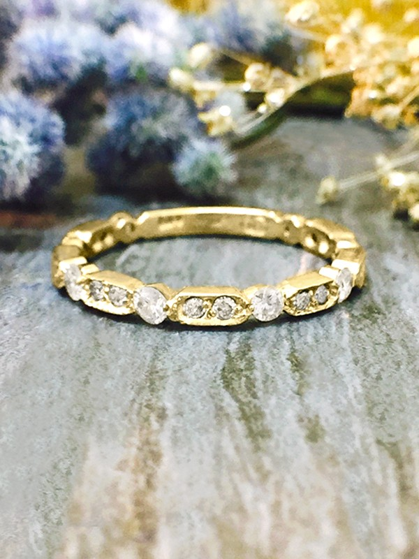 1.9MM Diamond Wedding Band <Prong> Solid 14K Yellow Gold (14KY) Stackable Women's Engagement Ring