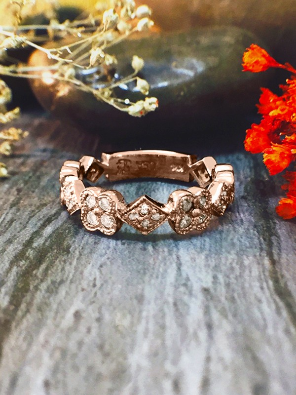 4.7MM Diamond Cluster Eternity with Sizing Bar Wedding Band <Pave> Solid 14K Rose Gold (14KR) Art Deco Ring