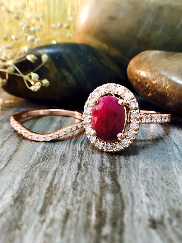 ENGAGEMENT SET: Ruby and Halo Diamond Solid 14K Rose Gold Engagement Ring and Band Set