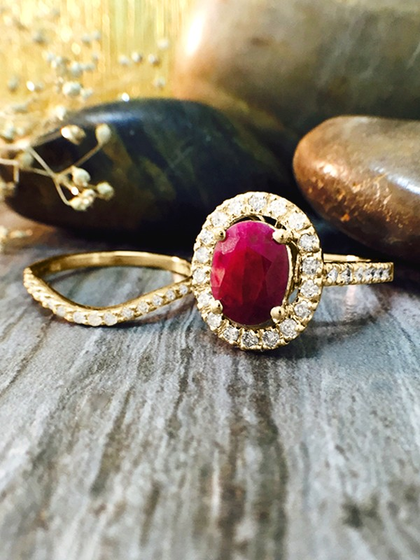 SET: Ruby and Halo Diamond Engagement <Prong> Solid 14K Yellow Gold (14KY) Wedding Ring and Band