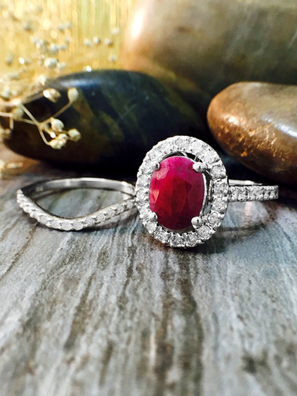 SET: Ruby and Halo Diamond Engagement <Prong> Solid 14K White Gold (14KW) Wedding Ring and Band