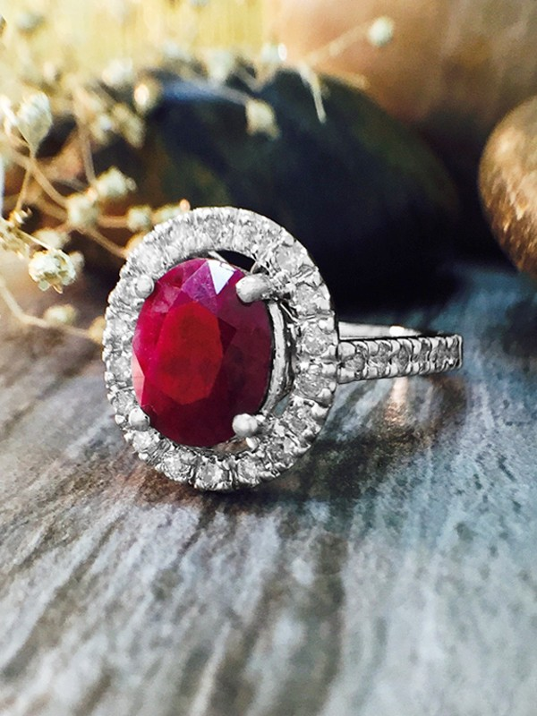 Ruby and Diamond Halo Engagement <Prong> Solid 14K White Gold (14KW) Affordable Colored Stone Wedding Ring