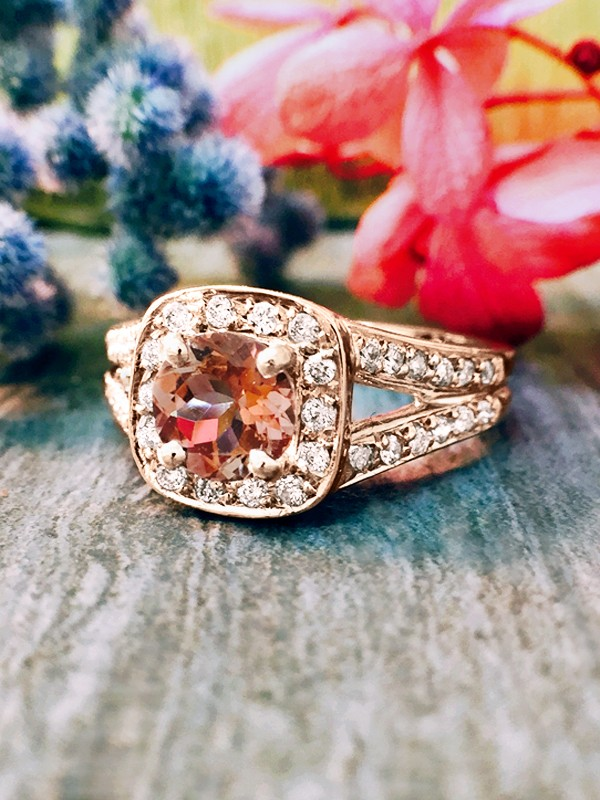 Pink Tourmaline and Diamond Halo Engagement <Prong/Pave> Solid 14K Rose Gold (14KR) Wedding Ring